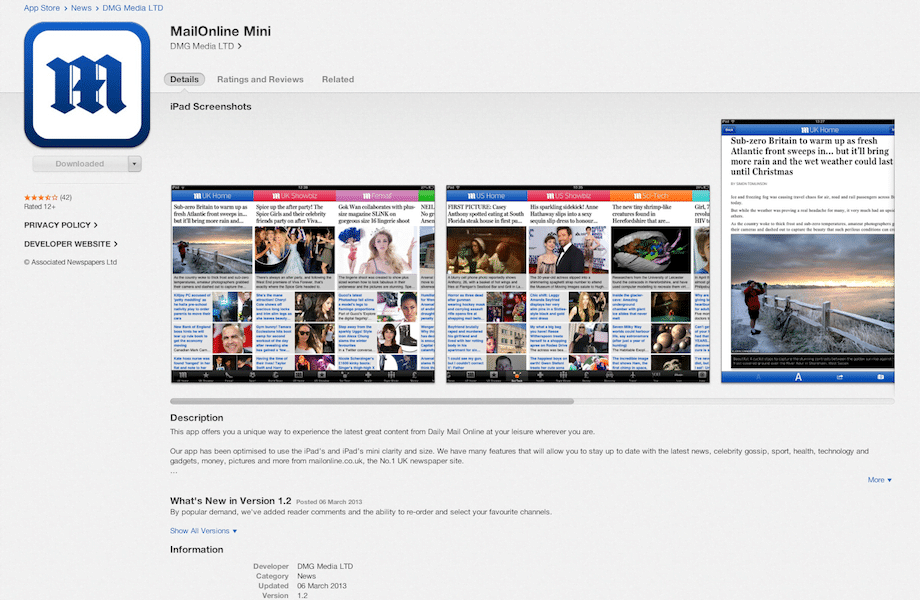 MailOnline – iPad mini app