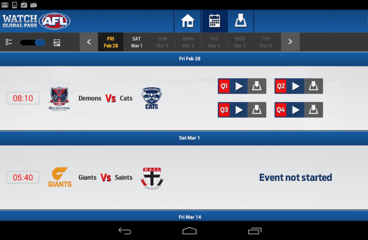 AFL Live Stream Android