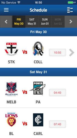 AFL Schedule iOS