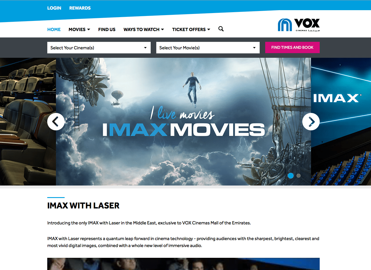 VOX Cinemas IMAX Ways to Watch page built by the Vista Cinema software developers at Can Factory
