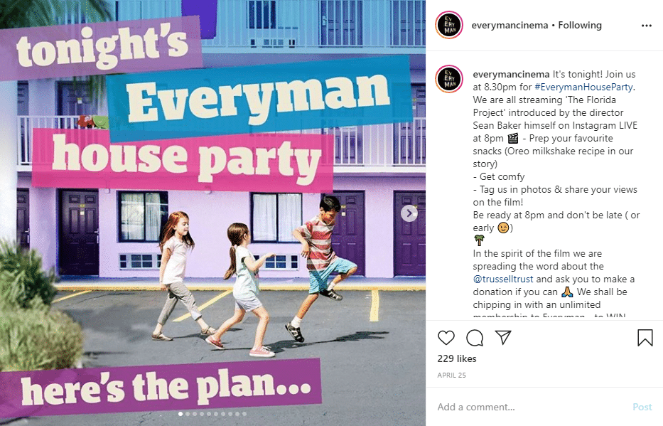 Everyman Cinemas Instagram Post - House Party