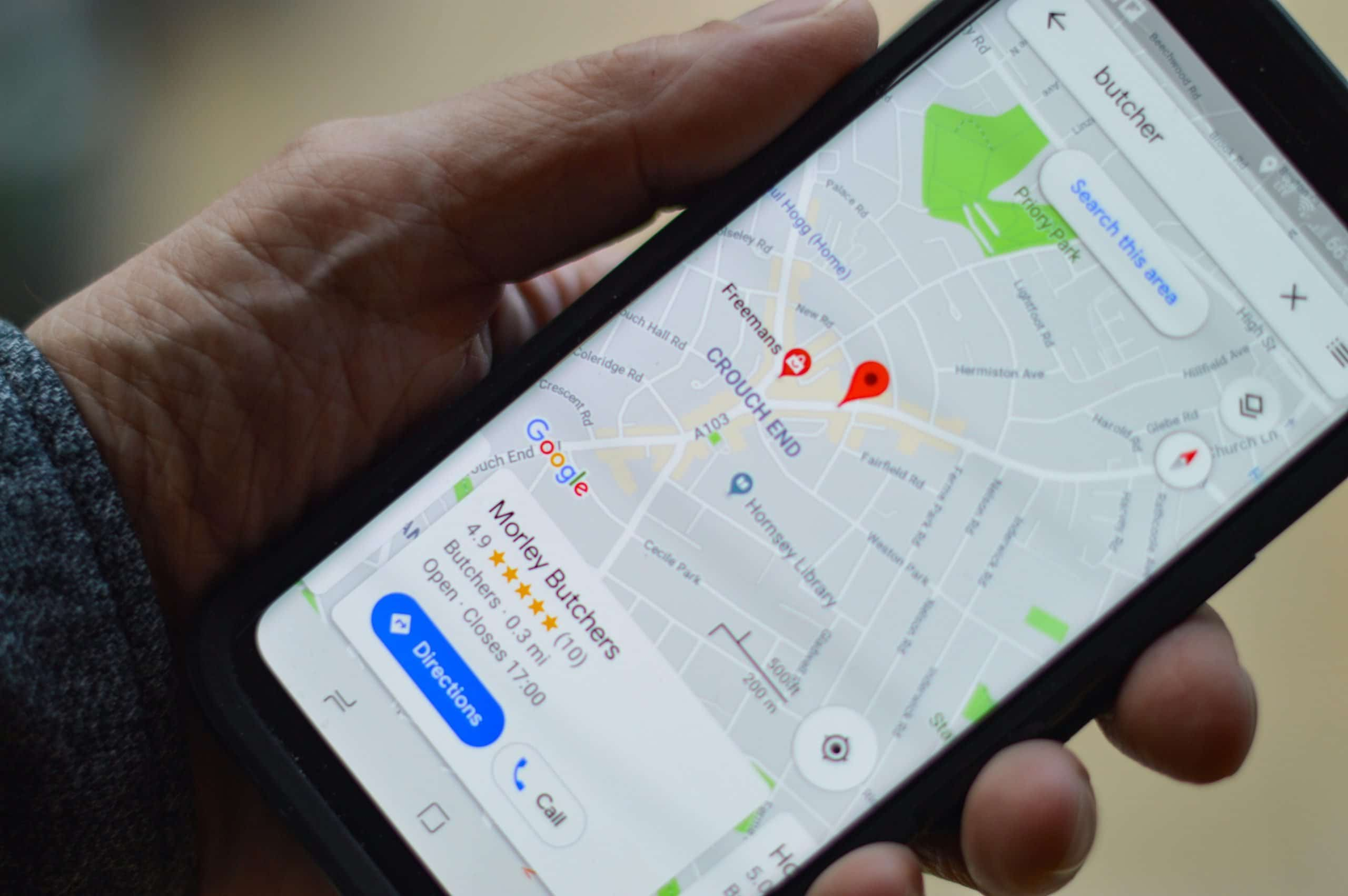 Phone with Google Maps open