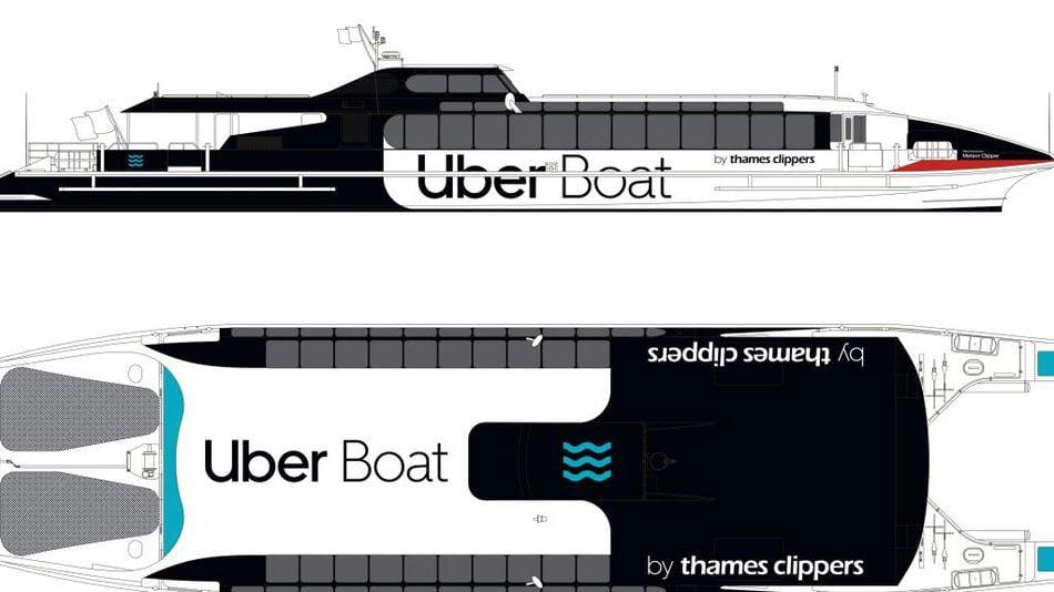 Uber branded speedboat