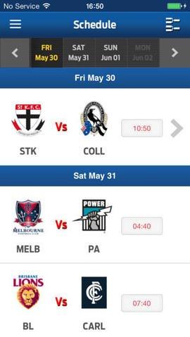 AFL Schedule iOS