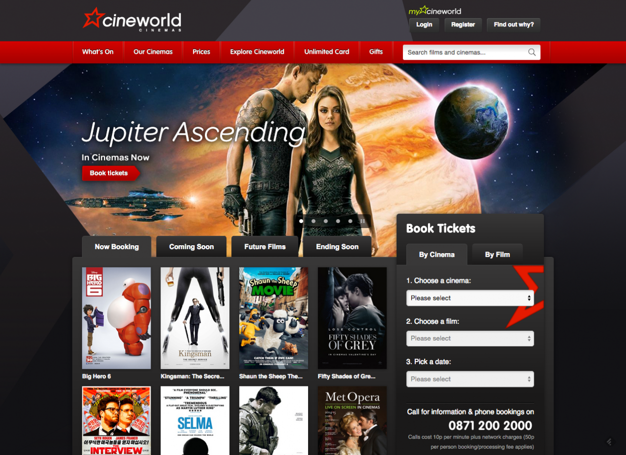 Cineworld homepage built by the Vista Cinema software developers at Can Factory